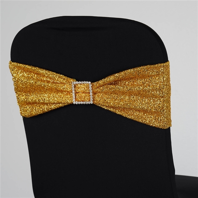 Gold Mettalic Spandex Chair Sash Wholesale Chair Sash