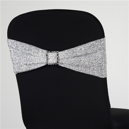5 PCS Chair Sash Metallic Spandex - Silver