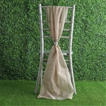 6Ft Natural Premium Chiffon Designer Chair Sashes - 5 PCS