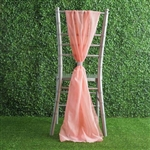 6Ft Rose Quartz Premium Chiffon Designer Chair Sashes - 5 PCS