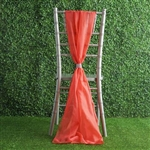 6Ft Coral Premium Chiffon Designer Chair Sashes - 5 PCS