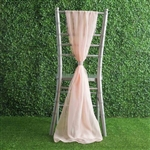6Ft Blush Premium Chiffon Designer Chair Sashes - 5 PCS