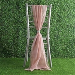 6Ft Dusty Rose Premium Chiffon Designer Chair Sashes - 5 PCS