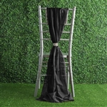 6Ft Black Premium Chiffon Designer Chair Sashes - 5 PCS