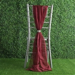 6Ft Burgundy Premium Chiffon Designer Chair Sashes - 5 PCS