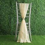6Ft Champagne Premium Chiffon Designer Chair Sashes - 5 PCS