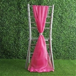 6Ft Fushia Premium Chiffon Designer Chair Sashes - 5 PCS