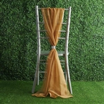6Ft Gold Premium Chiffon Designer Chair Sashes - 5 PCS