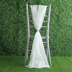 6Ft Ivory Premium Chiffon Designer Chair Sashes - 5 PCS