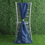 6Ft Navy Blue Premium Chiffon Designer Chair Sashes - 5 PCS