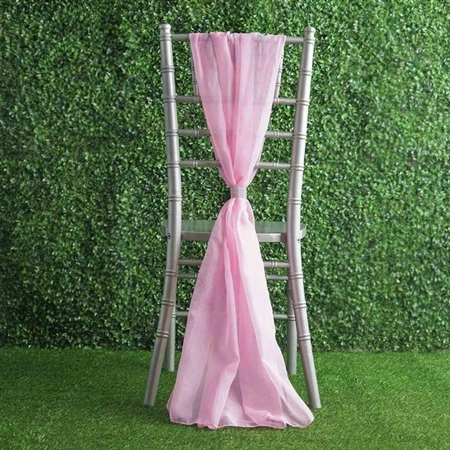 6Ft Pink Premium Chiffon Designer Chair Sashes - 5 PCS