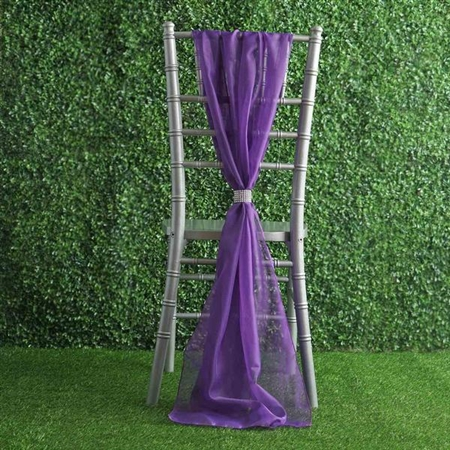 6Ft Purple Premium Chiffon Designer Chair Sashes - 5 PCS
