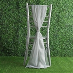 6Ft Silver Premium Chiffon Designer Chair Sashes - 5 PCS