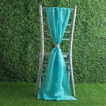 6Ft Turquoise Premium Chiffon Designer Chair Sashes - 5 PCS