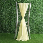 6Ft Yellow Premium Chiffon Designer Chair Sashes - 5 PCS
