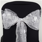 5 PCS White Sheer Organza Chair Sash With White Rose Design