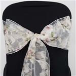 5 PCS White Sheer Organza Chair Sash With Blush Roses Design