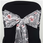 5 PCS White Sheer Organza Chair Sash With Cherry Blossom Design