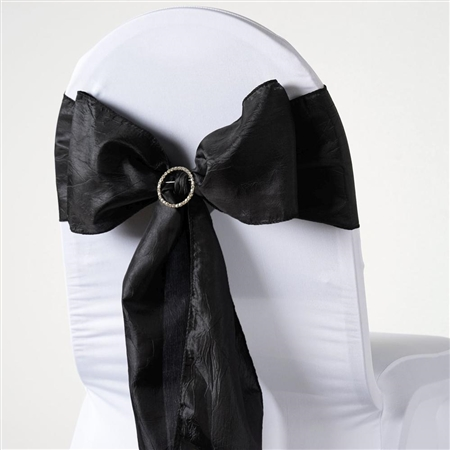 Crinkle Taffeta Chair Sash - Black