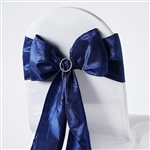 Crinkle Taffeta Chair Sash - Navy Blue