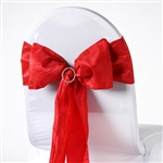 Crinkle Taffeta Chair Sash - Red
