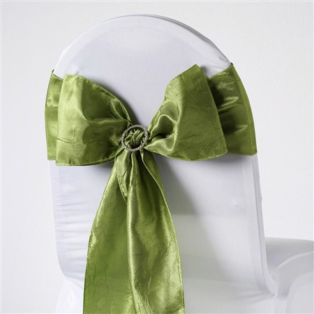 Crinkle Taffeta Chair Sash - Sage Green
