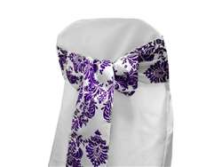 Chair Sash (Flocking) - White / Purple
