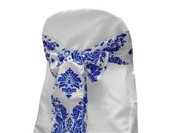 Chair Sash (Flocking) - White / Royal Blue