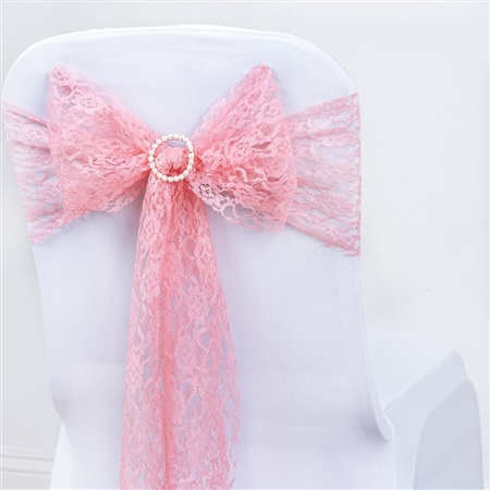 "5 PCS Rose Quartz Lace Chair Sashes Tie Bows - 6""x108"""