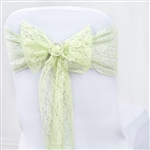 "5 PCS Tea Green Lace Chair Sashes Tie Bows - 6""x108"""
