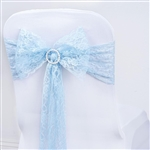 "5 PCS Serenity Blue Lace Chair Sashes Tie Bows - 6""x108"""
