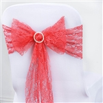 "5 PCS Coral Lace Chair Sashes Tie Bows - 6""x108"""