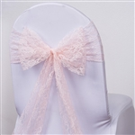 "5 PCS Blush Lace Chair Sashes Tie Bows - 6""x108"""