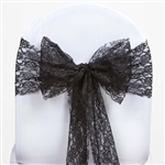 "5 PCS Black Lace Chair Sashes Tie Bows - 6""x108"""