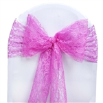 "5 PCS Fuchsia Lace Chair Sashes Tie Bows - 6""x108"""