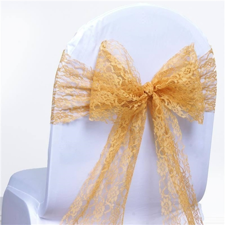 "5 PCS Gold Lace Chair Sashes Tie Bows - 6""x108"""