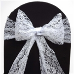"5 PCS Ivory Lace Chair Sashes Tie Bows - 6""x108"""