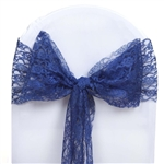 "5 PCS Navy Blue Lace Chair Sashes Tie Bows - 6""x108"""