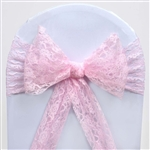 "5 PCS Pink Lace Chair Sashes Tie Bows - 6""x108"""