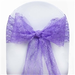 "5 PCS Purple Lace Chair Sashes Tie Bows - 6""x108"""