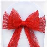 "5 PCS Red Lace Chair Sashes Tie Bows - 6""x108"""