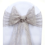 "5 PCS Silver Lace Chair Sashes Tie Bows - 6""x108"""
