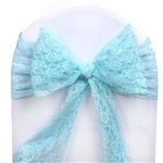"5 PCS Turquoise Lace Chair Sashes Tie Bows - 6""x108"""