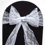 "5 PCS White Lace Chair Sashes Tie Bows - 6""x108"""