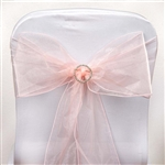 "5 Pack Econoline Organza Chair Sash 6.5"" x 108"" - Blush"