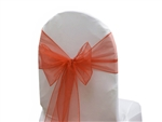 "5 Pack Econoline Organza Chair Sash 7.5"" x 108""  - Burnt Orange"