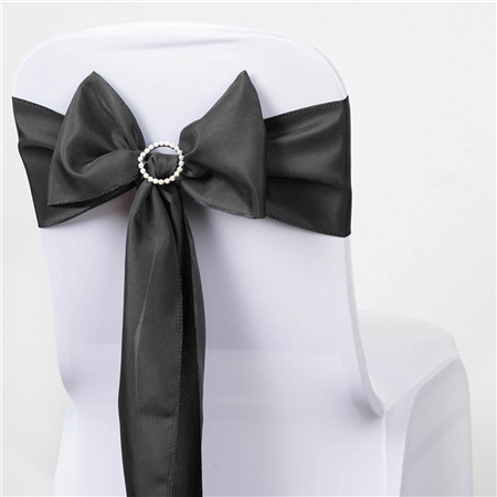 "6 x 108"" Charcoal Grey Polyester Chair Sashes Tie Bows Catering Wedding Party Decorations - Pack of 5"