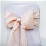 "6 x 108"" Blush Polyester Chair Sashes Tie Bows for Wedding Party Decorations - Pack of 5"