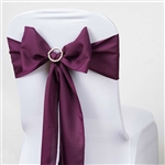 "6 x 108"" Eggplant Polyester Chair Sashes Tie Bows for Wedding Party Decorations - Pack of 5"