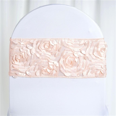 "6""x12"" Blush Satin Rosette Spandex Stretch Chair Sash - 5 PCS"
